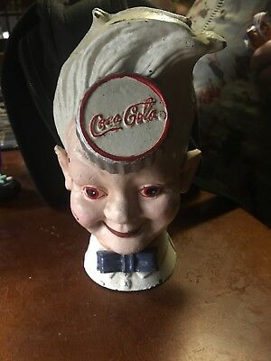 "Cast Iron Coca-Cola Soda Boy Head ( Sprite Boy)  Vintage Coin Bank 8"" Tall"