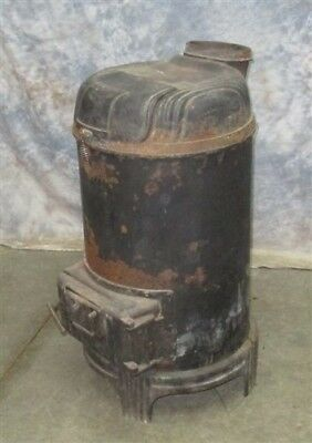 Round Cast Iron Stove Wood Burning Cook Morning Breakfast Parlor Coal Vintage