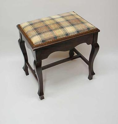 Large Edwardian Mahogany  dressing or piano stool, cabriole legs, re-upholstered