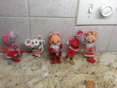 Vintage flocked plastic  Mice Christmas Ornaments Lot of 5 made in Japan