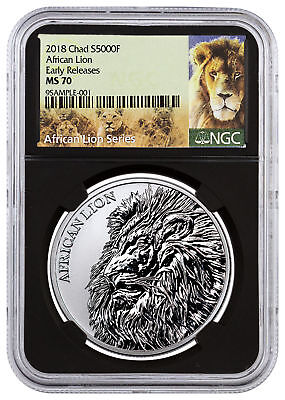 2018 Republic Chad African Lion 1 oz Silver 5,000F NGC MS70 ER Black SKU51652