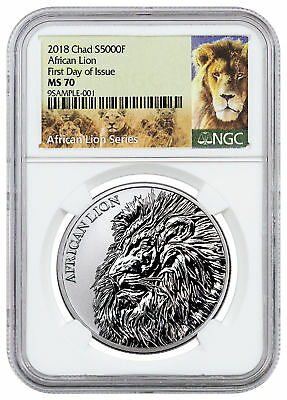 2018 Republic of Chad African Lion 1 oz Silver 5,000F Coin NGC MS70 FDI SKU51653