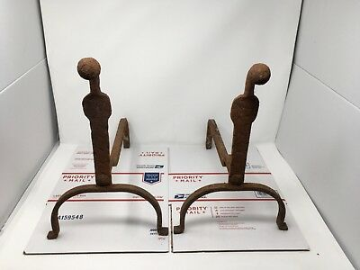 Rustic and Rusty Antique CAST IRON Fireplace ANDIRONS  Pair Set