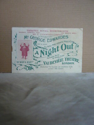 Theatre Royal Bournemouth 1897 Programme George Edwardes A Night Out