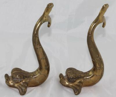 Pair Of Brass Dolphin / Fish Bookends