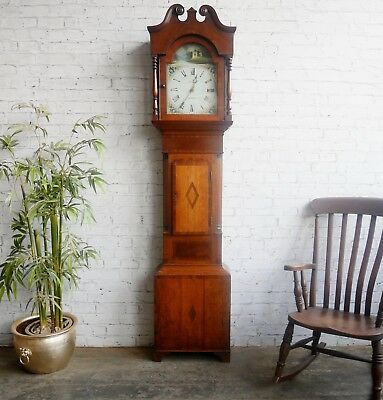 Antique Georgian Painted Dial 30 Hour Oak & Mahogany Longcase Grandfather Clock