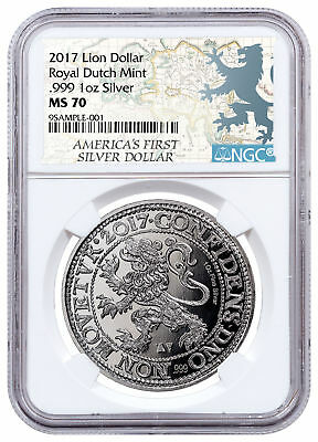 2017 Netherlands Restrike 1 oz Silver New York Lion Dollar NGC MS70 SKU52492