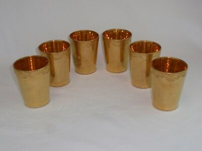 Vintage German Gold Encased Porcelain Tumblers Juice Glasses Set of 6