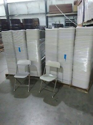100 Used Plastic Folding Chairs Bone White Party Rental Chair No Shipping .