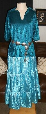Xl Navajo Indian Native Powwow Traditional Shirt Broom Tier Skirt Turquoise