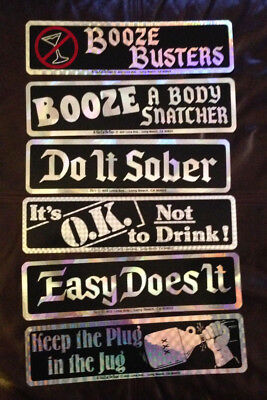 VTG Bumper Stickers - AA Alcoholics Anonymous - lot of 18 Prismatic Sparkle NOS