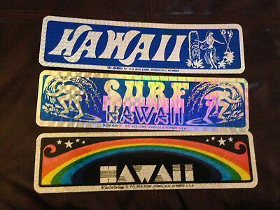 VTG Bumper Stickers - Hawaii - lot of 3 - Prismatic Sparkle NOS - Surfing