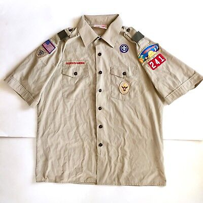 Boy Scouts of America Uniform Shirt Button Front Khaki w/ Patches OC Youth 2XL