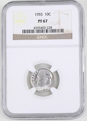 1955 Proof Roosevelt Silver Dime 10C NGC PF67