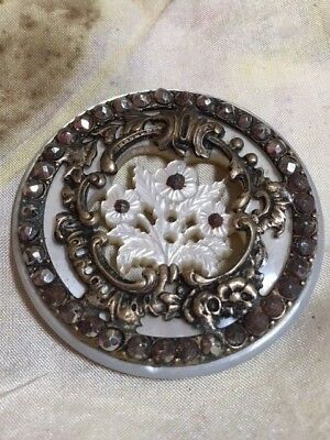 Antique 1.5 inch carved mother of pearl steels flower button sew through