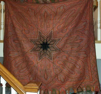 Very Nice Antique Paisley Wool Square Shawl with 5 Colors