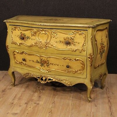 Dresser venetian wooden lacquered golden 2 drawers furniture antique style 900