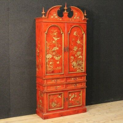 Furniture bar cupboard lacquered spanish wooden golden chinoiserie antique style