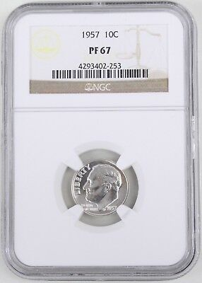 1957 Proof Roosevelt Silver Dime 10C NGC PF67