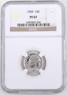 1959 Proof Roosevelt Silver Dime 10C NGC PF67