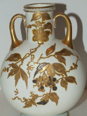 Antique Victorian Mt. Washington Colonial ware hand-painted opalware vase