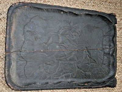 Carved Japanese Meiji period antique lotus flower boxwood tray Sculpture Large