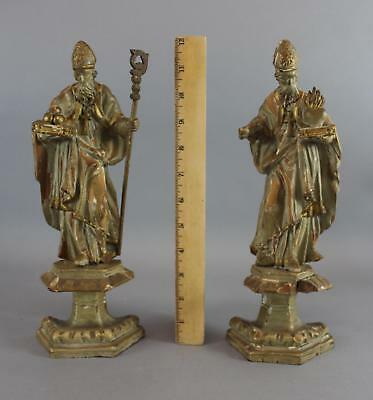 Pair Antique 19thC Italian Carved & Painted Wood Christian Papal Pope Statues