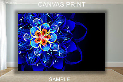 ABSTRACT FLOWER BLUE ABSTRACT CANVAS PRINT READY TO HANG or ROLLED FROM A4