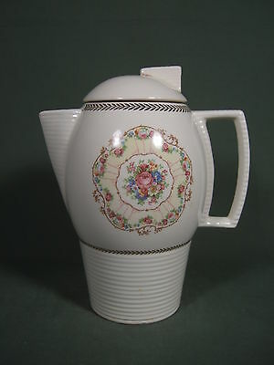 VINTAGE 1930's SEBRING FLORAL COFFEE POT OR TEAPOT WITH GOLD TRIM MADE IN U.S.A.