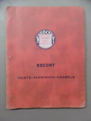 1937 SOCONY PAINT PRODUCTS Catalog with Chips Paints Varnishes Enamels Vintage