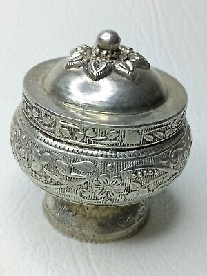 vintage Silver floral ornated Box and Lid
