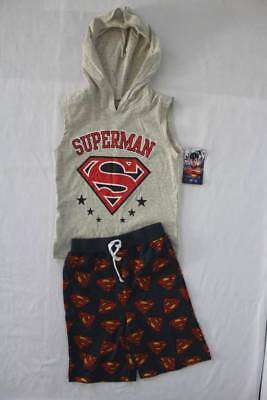 NEW Boy 2p Outfit Size 5 - 6 Superman Hooded Tank Top Shirt Shorts Set Superhero