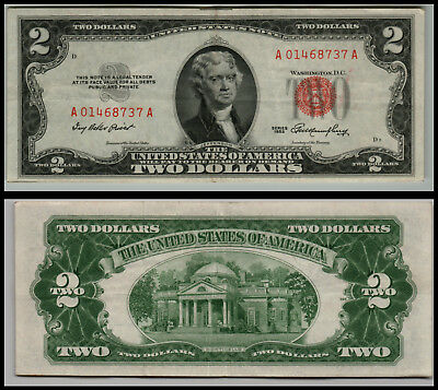 1953 $2 Dollar  Us Note Legal Tender Paper Money Currency Red Seal V966