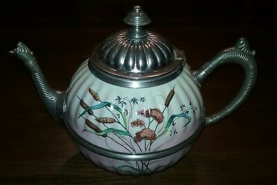 VICTORIAN Era Porcelain And Pewter Tea Pot TEAPOT Cattails Wheat - Very NICE!