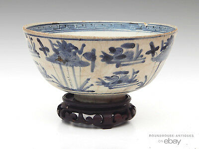 16th - 17th C. Chinese Porcelain Ming Dynasty Blue White Swatow Bowl