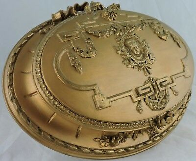 Antique Wooden French Or Italian Jewelry Box W/ Cameo Face,swags,rose,gold Gilt