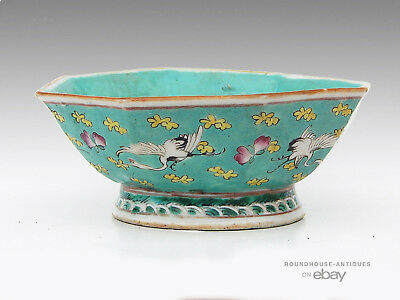19th C. Antique Chinese Porcelain Hexagonal Footed Bowl Famille Rose Cranes
