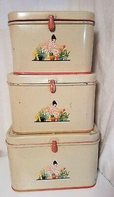 Lot of 3 Vintage Tin Metal Stacking/Nesting Breadbox Bread Boxes Lady w Flowers