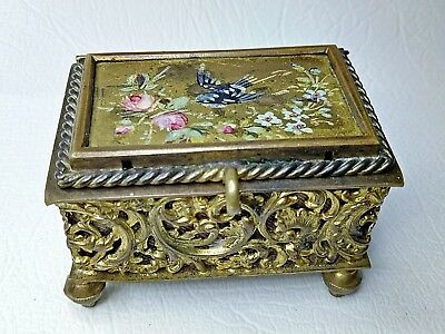 Antique hand painted and gilded Trinket Box 1800s