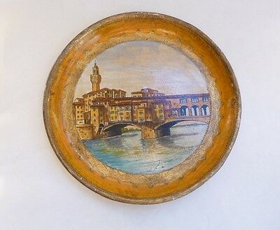 Florentine Hand Painted Wood Tole Tray Ponte Vecchio Florence Italian Italy