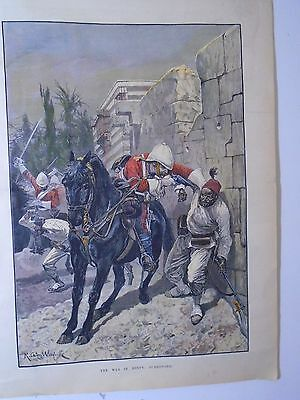 1ST LIFE GUARDS EGYPT 1882 - Hand coloured miltary print jack mummery..