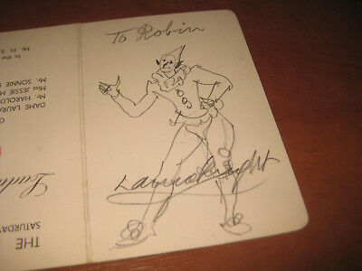 Artist Dame Laura Knight Signed Autograph Clown Sketch 1936 On Dinner Menu