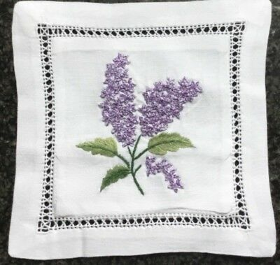 Hand embroidered lavender sachet/bag/pillow (design 7)