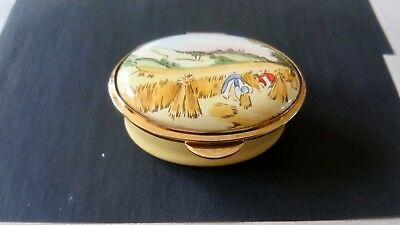 Staffordshire Enamels yellow/gold oval pill box with harvest picture