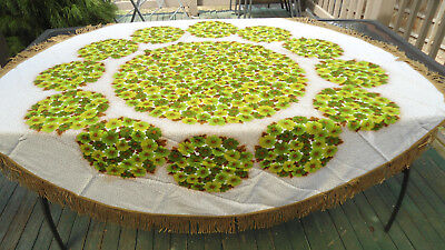 Lime Green Floral Vintage Retro Table Cloth With Tassels Ex Cond