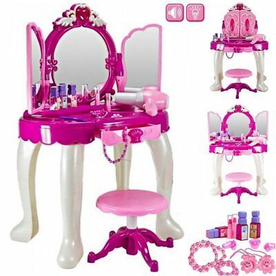 Girls Glamour Mirror Makeup Dressing Table Stool Playset Toy Vanity Light,music