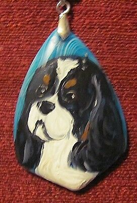 Cavalier King Charles Spaniel hand painted turquoise Agate pendant/bead/necklace