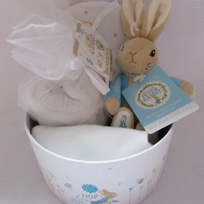 Baby gift basket/hamper Peter Rabbit gift box unisex filled with baby items