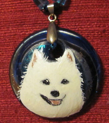 American Eskimo Dog hand painted on round Murano Glass pendant/bead/necklace