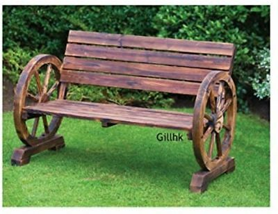 Garden Wooden Bench Antique Wagon Wheel Furniture Seater Chair Patio Yard Decor